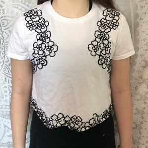 white with black floral top shop crop top